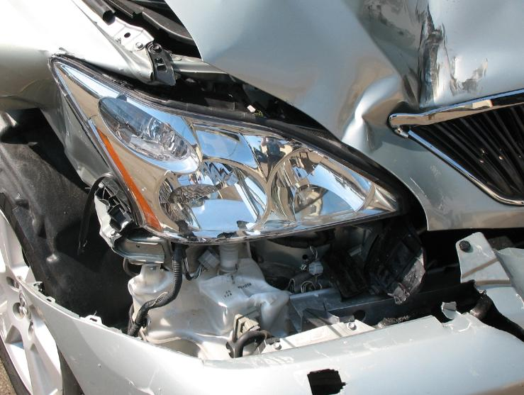 Headlamp Damage on Vehicle